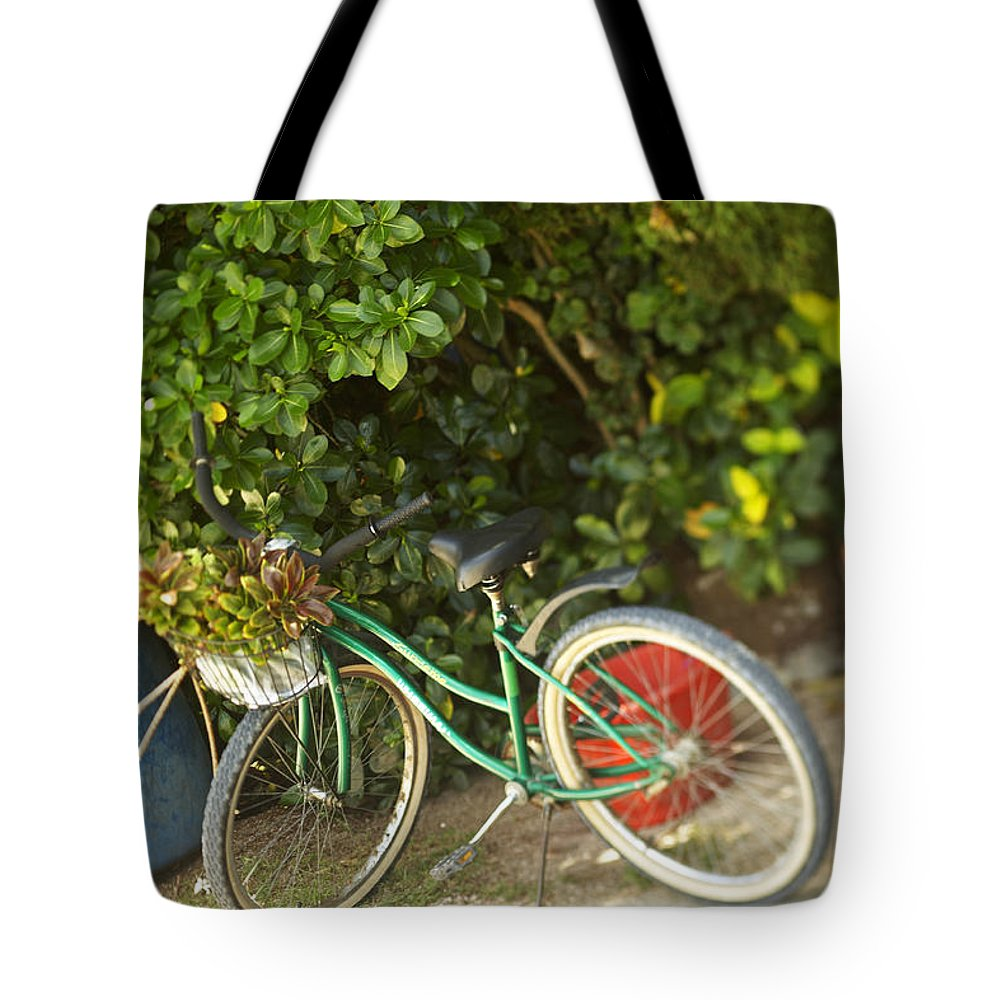 Basket Tote Bag featuring the photograph Bike In Maupiti by Kyle Rothenborg - Printscapes