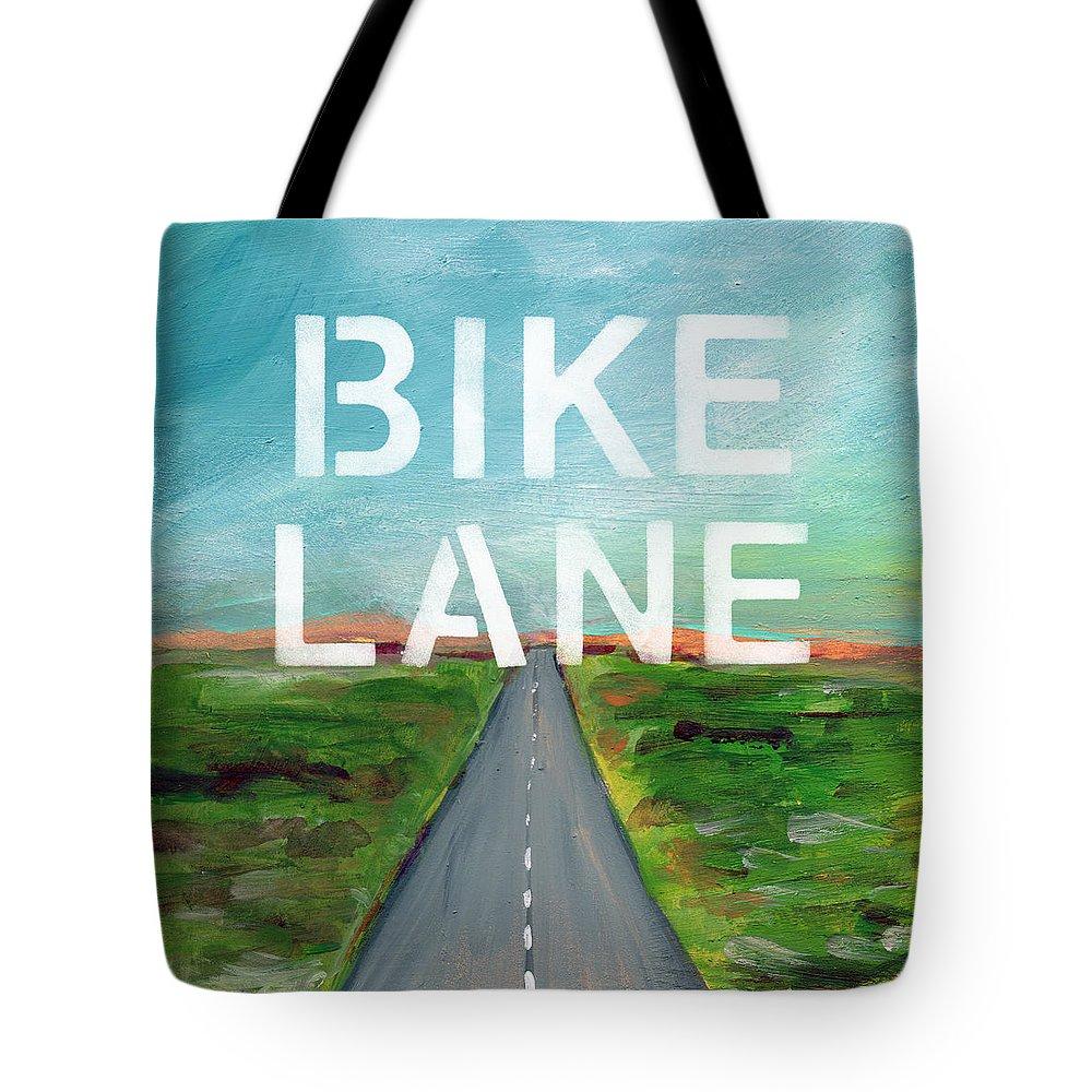 Bike Tote Bag featuring the painting Bike Lane- Art By Linda Woods by Linda Woods