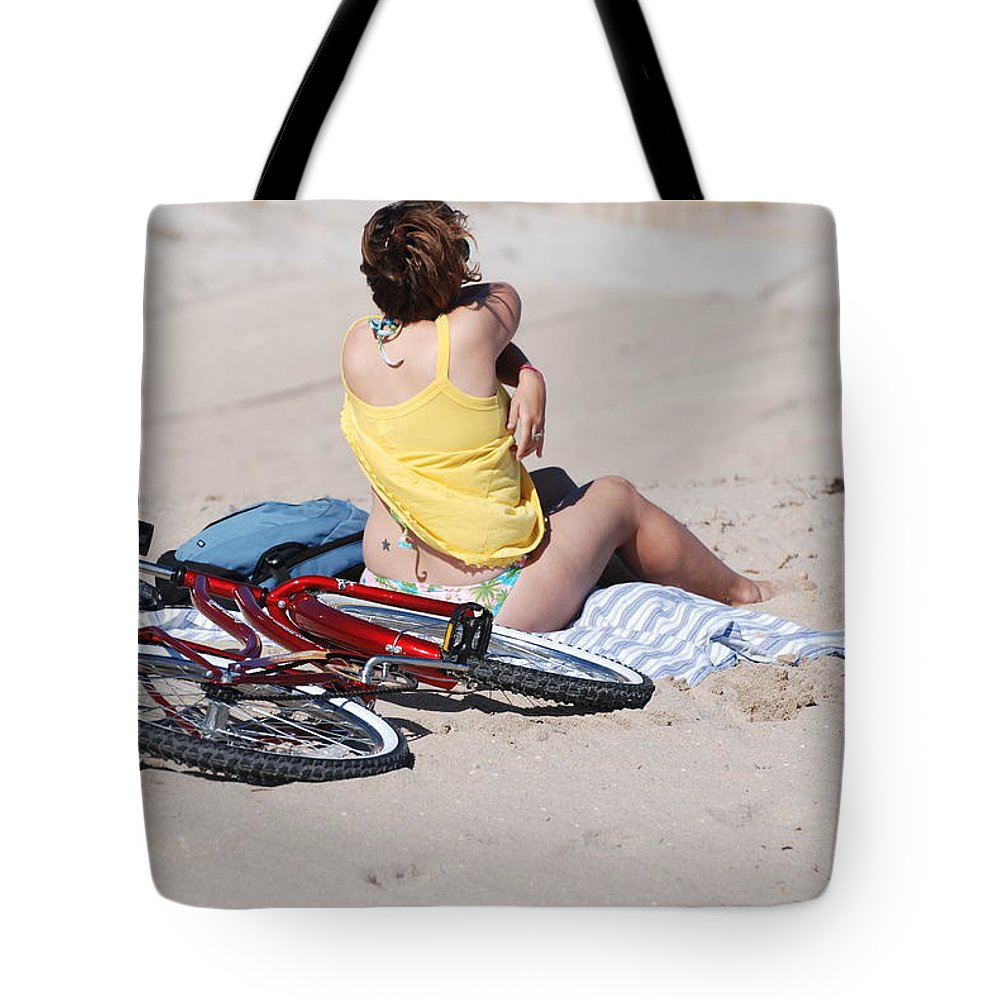 Red Tote Bag featuring the photograph Bike On The Beach by Rob Hans