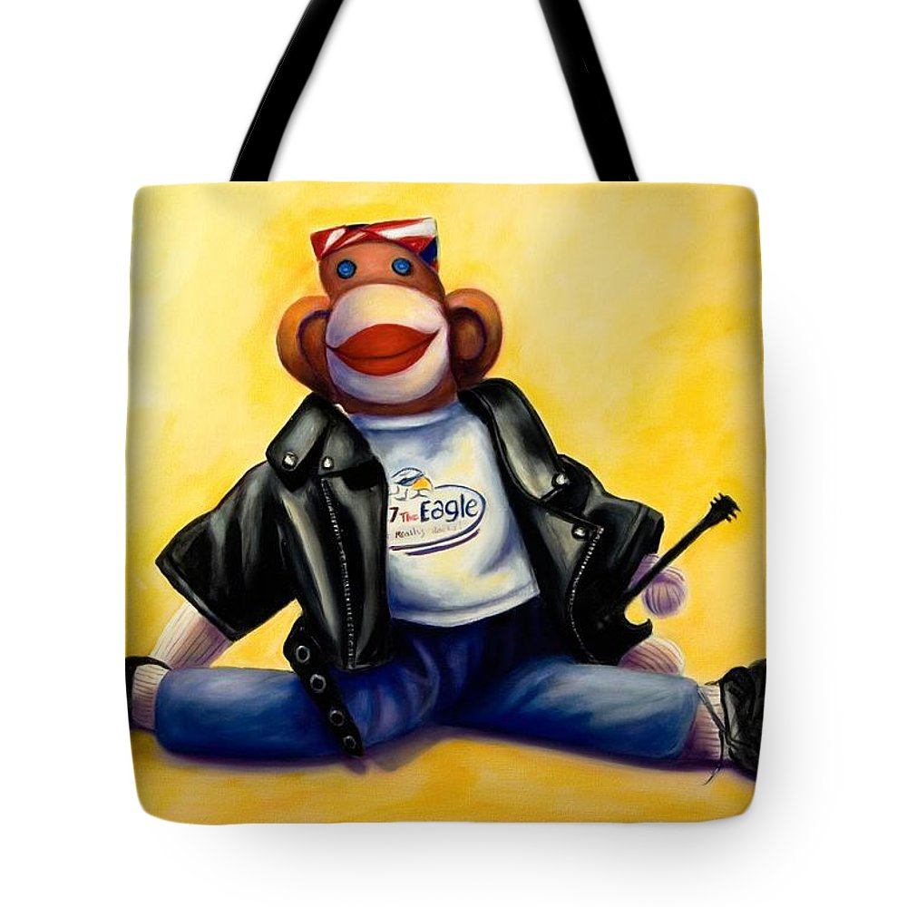 Sock Monkey Brown Tote Bag featuring the painting Biker Dude Made Of Sockies by Shannon Grissom