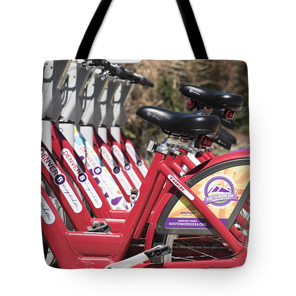 Athletic Tote Bag featuring the photograph Bikes For Rent by Juli Scalzi