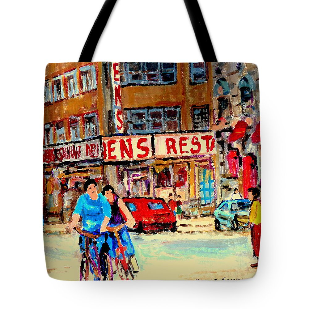 Montreal Tote Bag featuring the painting Biking Past Ben by Carole Spandau
