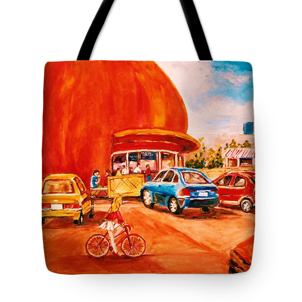 Cityscenes Tote Bag featuring the painting Biking Past The Orange Julep by Carole Spandau