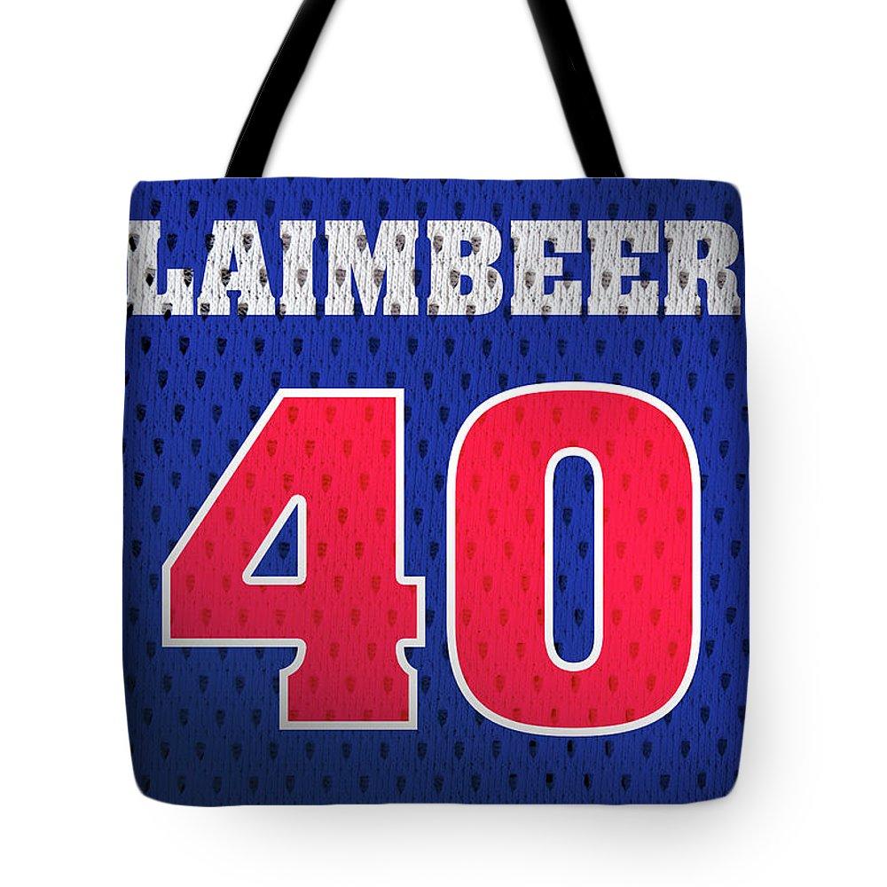 huge discount 9b739 77cf0 Bill Laimbeer Detroit Pistons Number 40 Retro Vintage Jersey Closeup  Graphic Design Tote Bag
