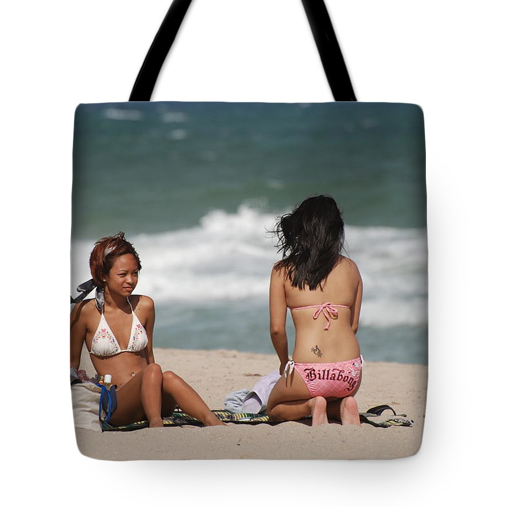 Sea Scape Tote Bag featuring the photograph Billabong Girls by Rob Hans