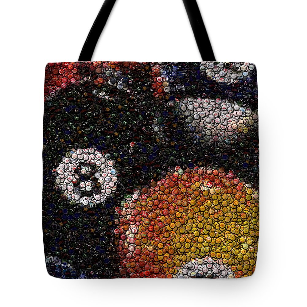 Pool Hall Tote Bag featuring the mixed media Billiard Ball Bottle Cap Mosaic by Paul Van Scott
