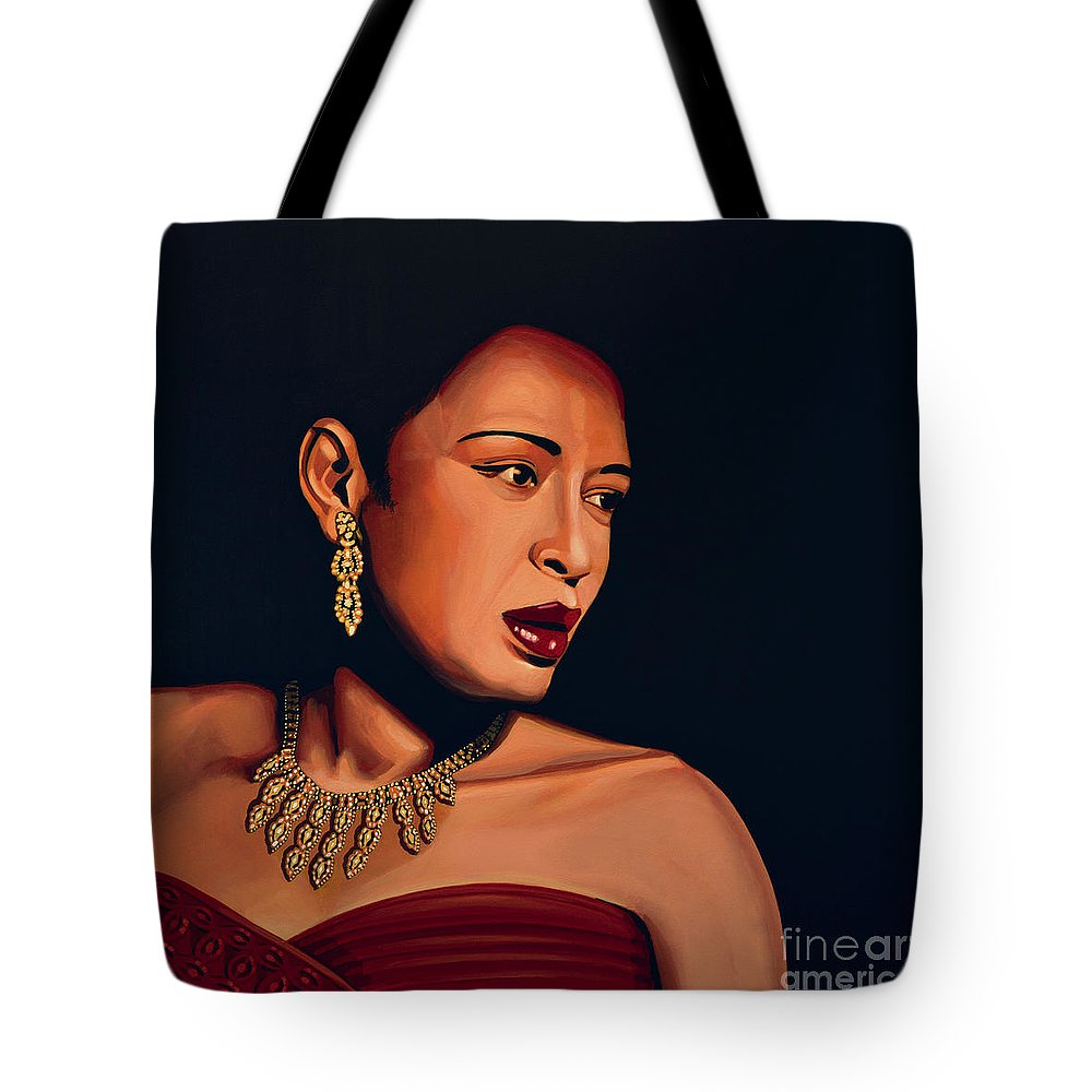 Billie Holiday Tote Bag featuring the painting Billie Holiday by Paul Meijering
