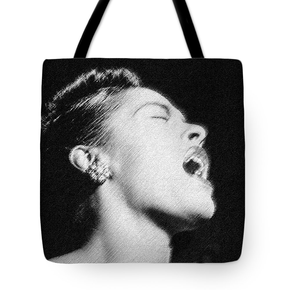 Billie Holiday Tote Bag featuring the digital art Billie by Marcus Wang