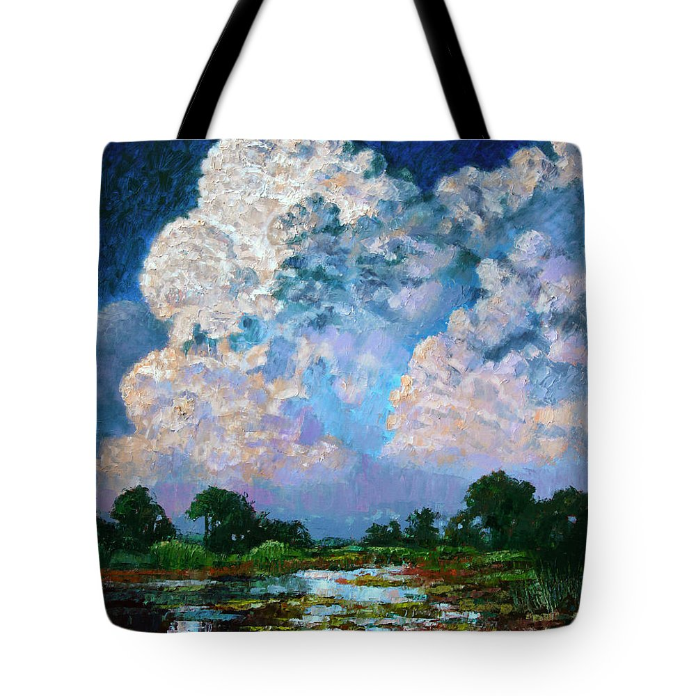 Clouds Tote Bag featuring the painting Billowing Clouds by John Lautermilch