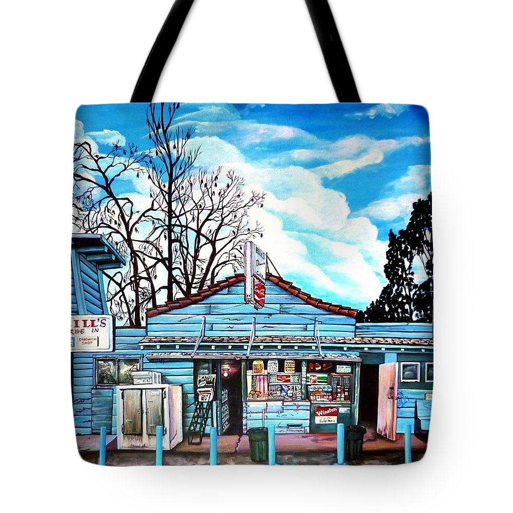 Northern Ca Tote Bag featuring the painting Bill's Drive-in by Elizabeth Eve King