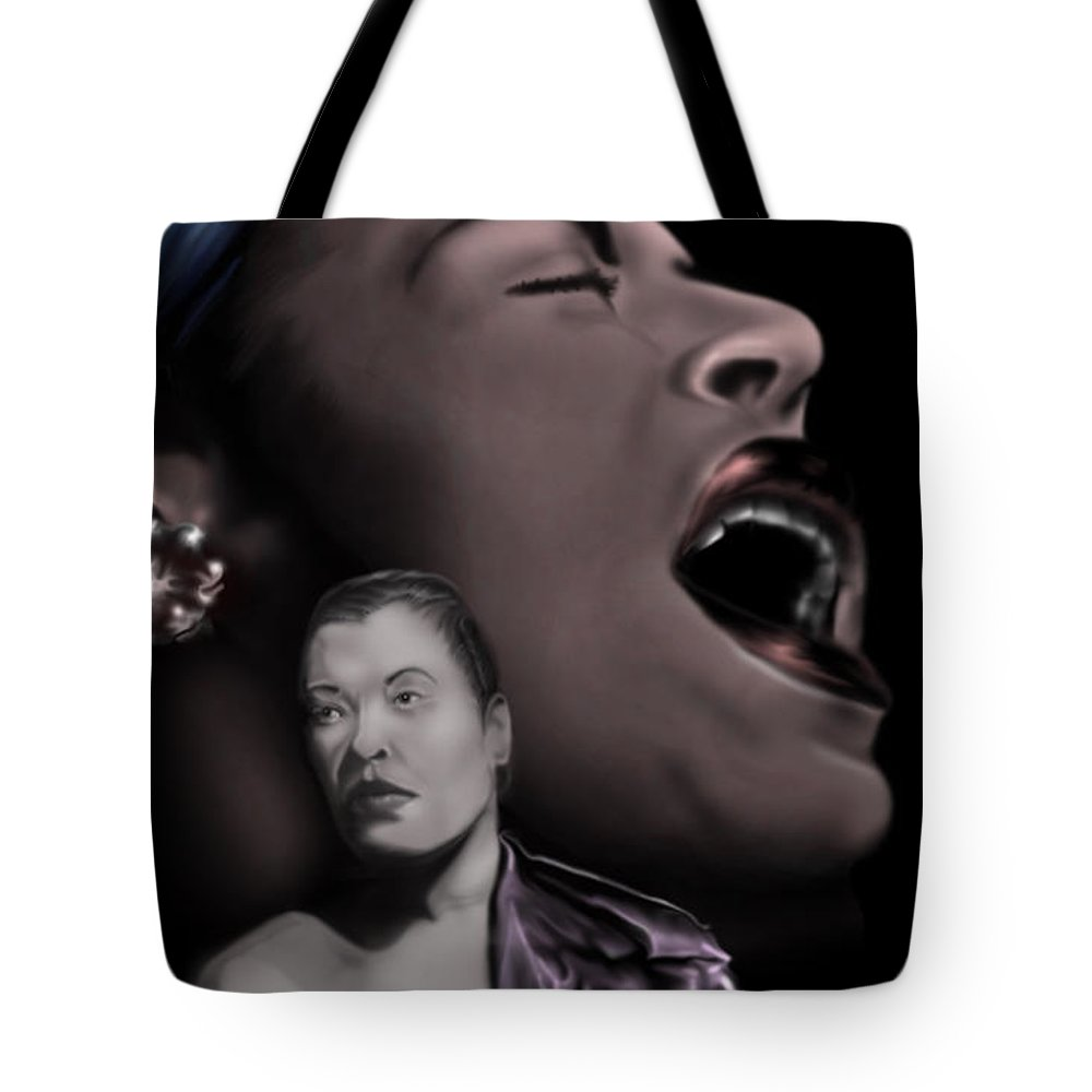 Female Singer Tote Bag featuring the painting Billy- Beyond Holidays by Reggie Duffie