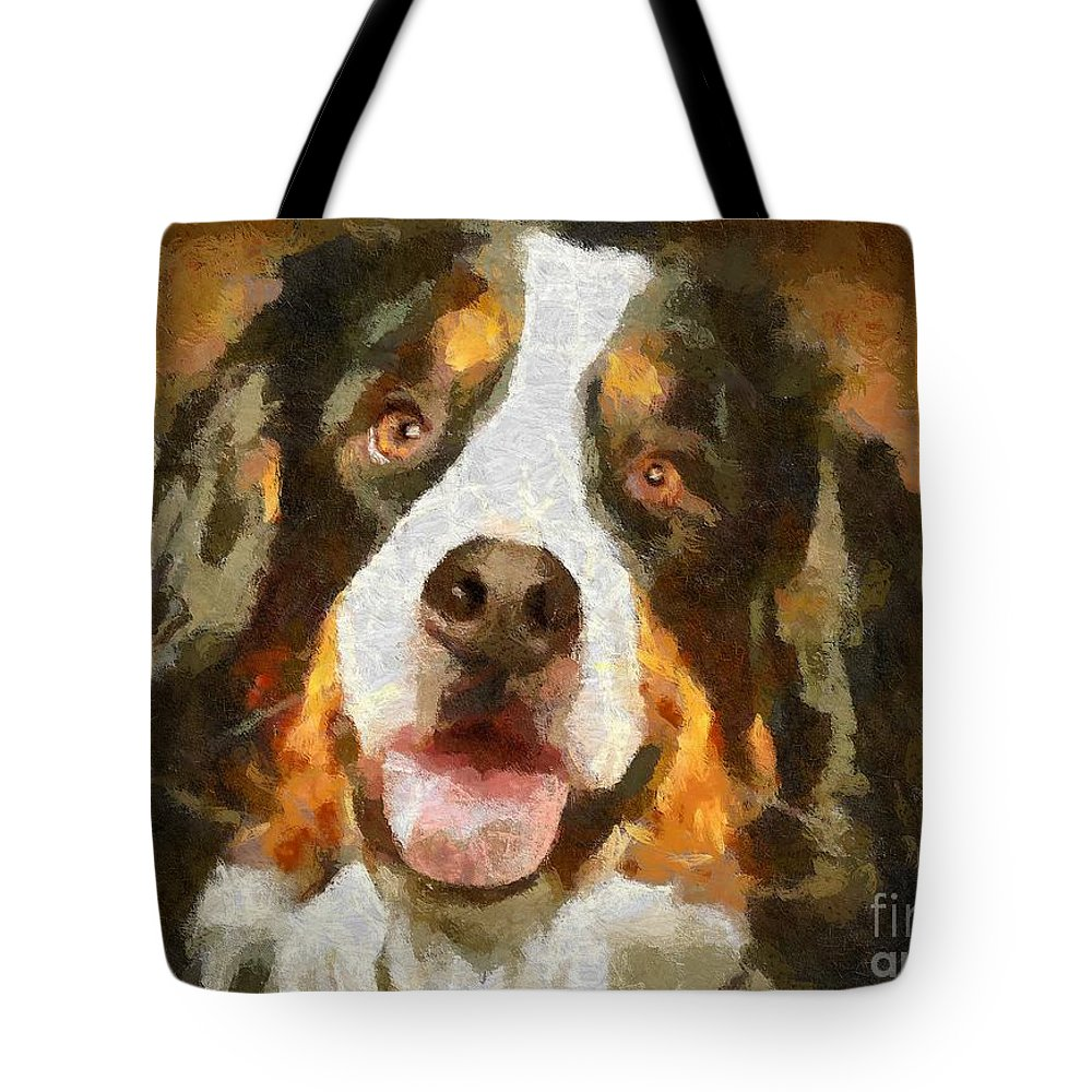 Portraits Tote Bag featuring the painting Bimbo - Bernese Mountain Dog by Dragica Micki Fortuna