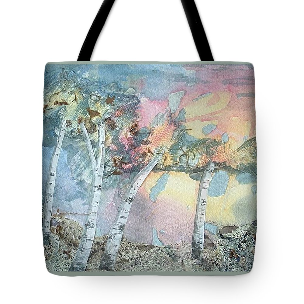 Collage Tote Bag featuring the painting Birch Filigree by Lynn ACourt