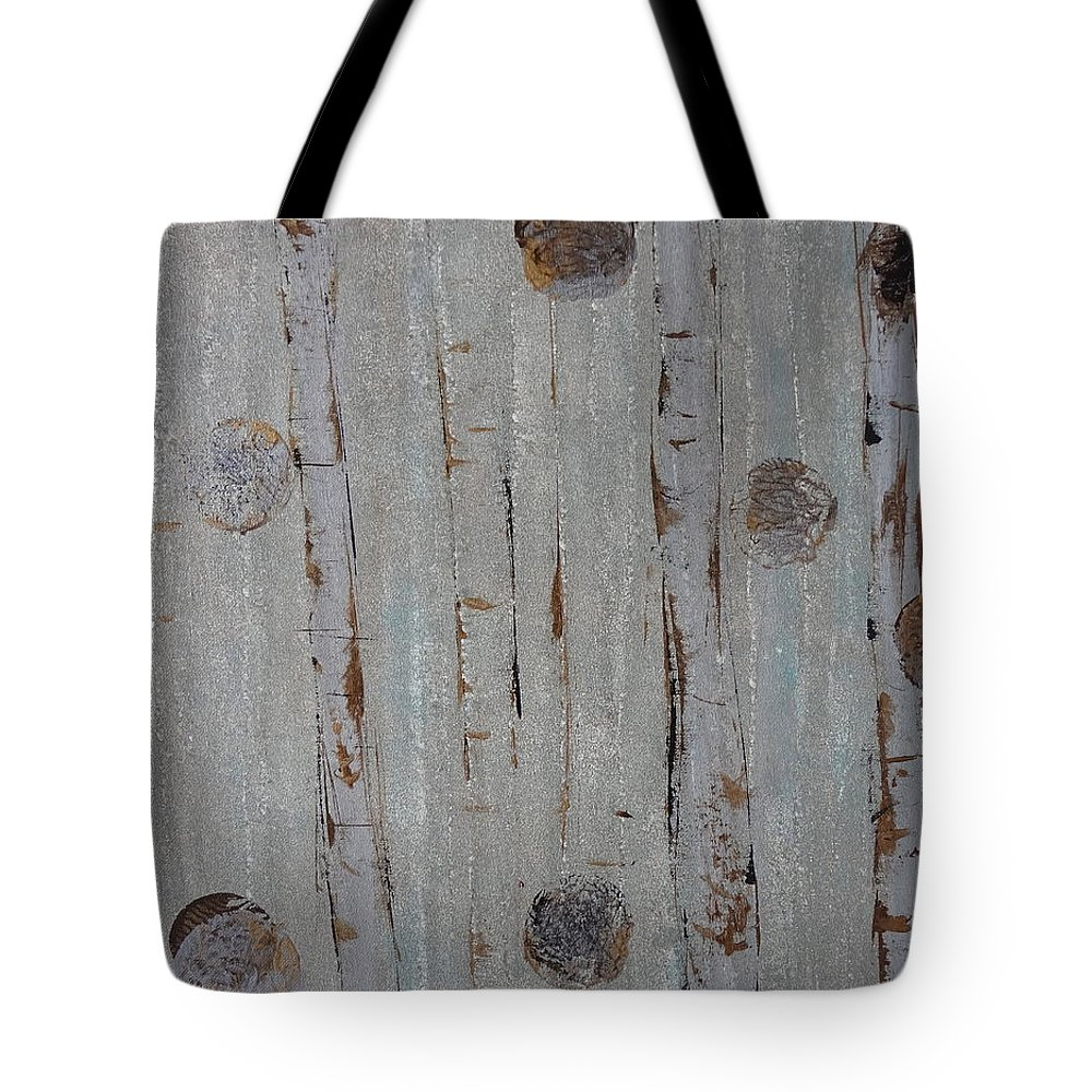 Land Tote Bag featuring the painting Birch - Fog 2 by Jacqueline Athmann