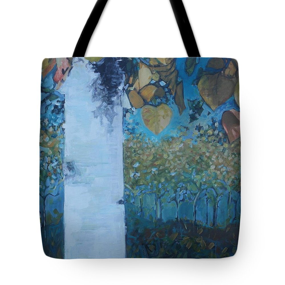 Birch Tote Bag featuring the painting bIrCh LanE by Cindy Collins