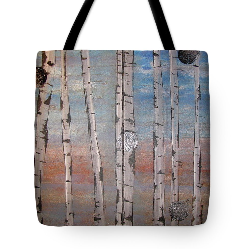 Land Tote Bag featuring the painting Birch Trees - Clouds by Jacqueline Athmann