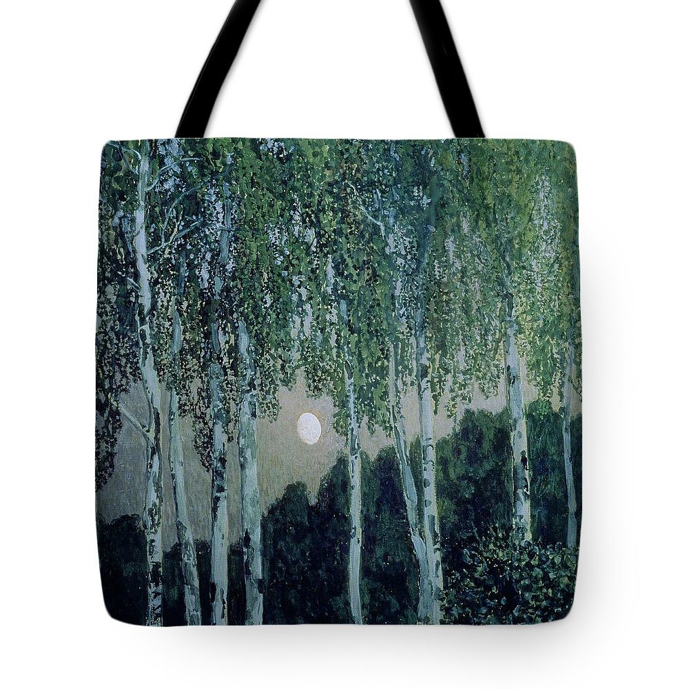 Birch Trees (oil On Canvas) By Aleksandr Jakovlevic Golovin (1863-1930) Tote Bag featuring the painting Birch Trees by Aleksandr Jakovlevic Golovin