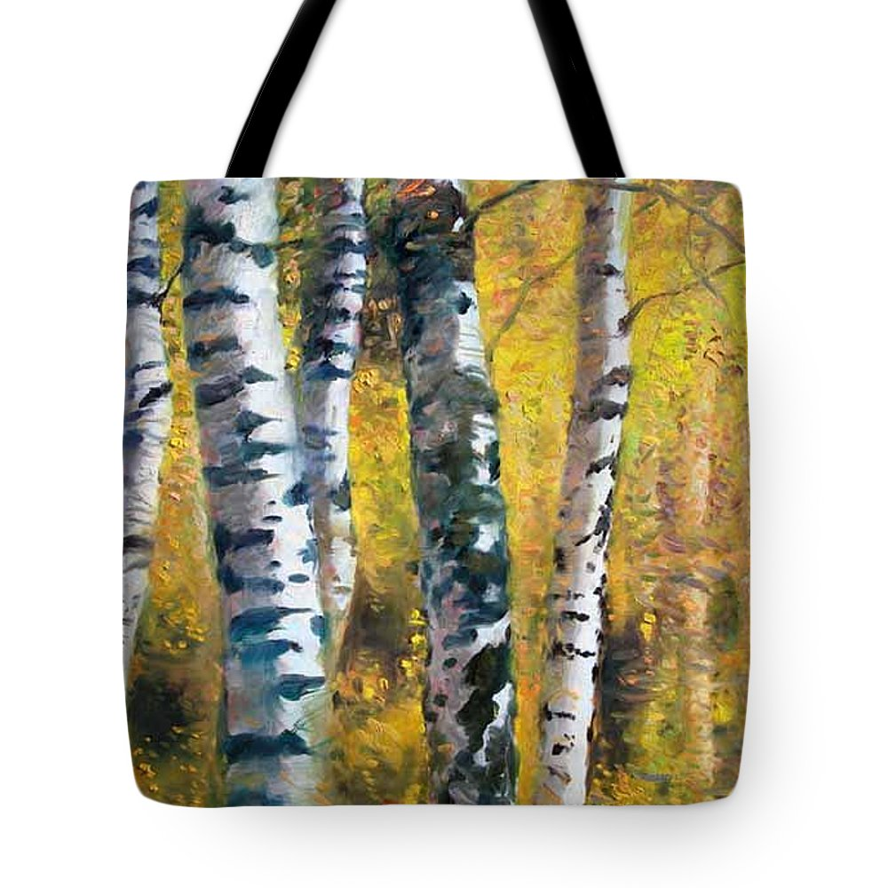 Landscape Tote Bag featuring the painting Birch Trees In Golden Fall by Ylli Haruni