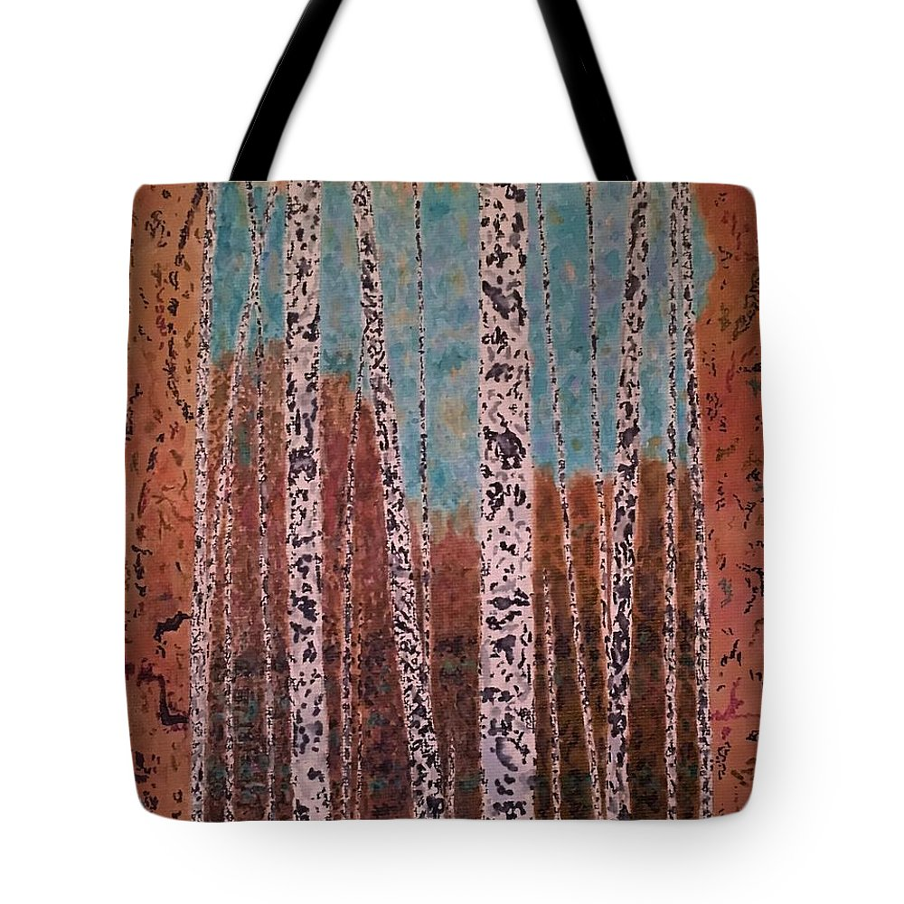 Trees Tote Bag featuring the painting Birch Trees by John Cunnane