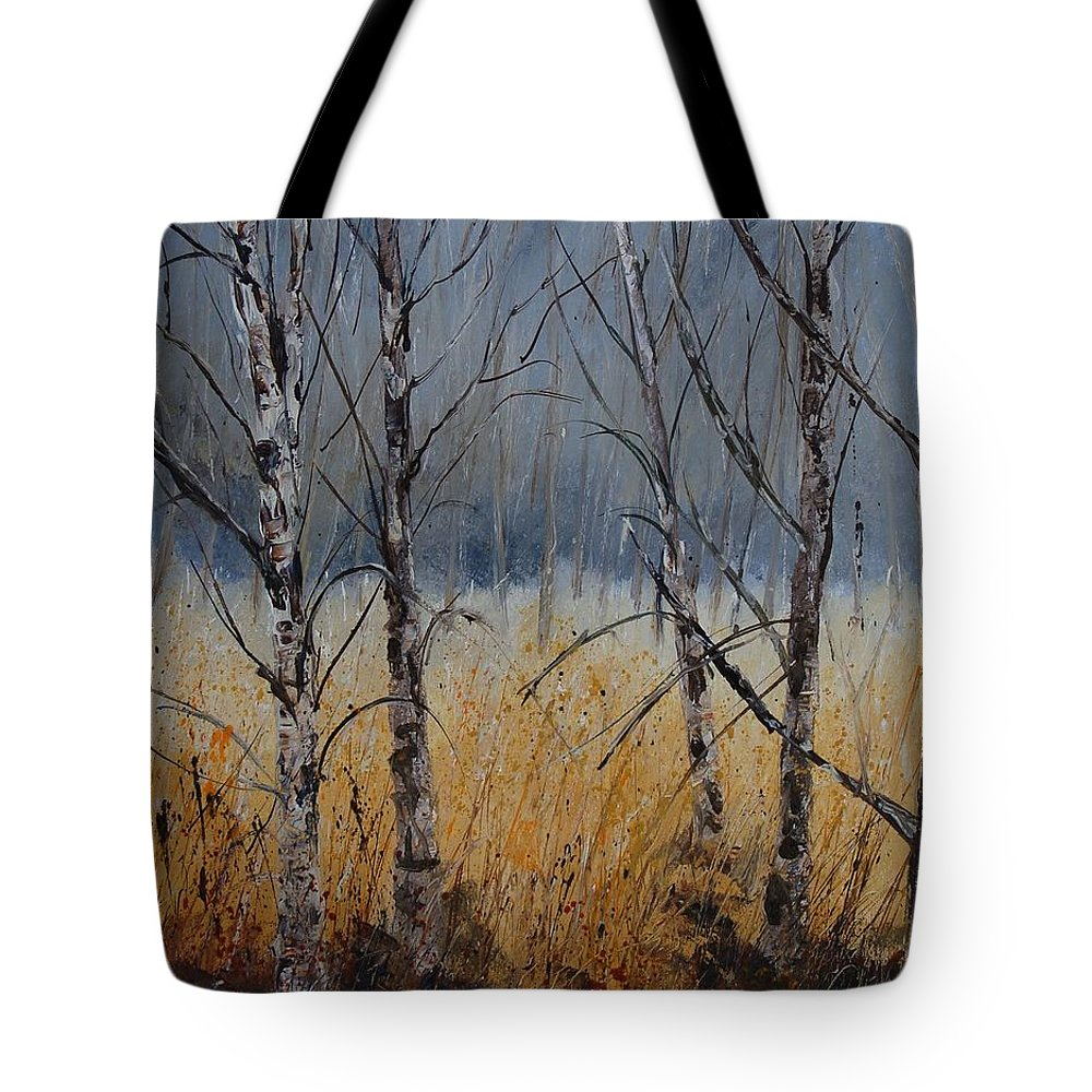 Winter Tote Bag featuring the painting Birch Trees by Pol Ledent