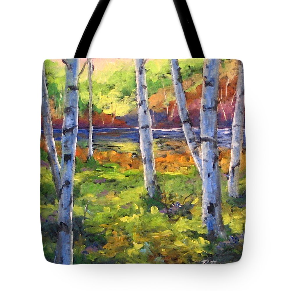 Art Tote Bag featuring the painting Birches 01 by Richard T Pranke