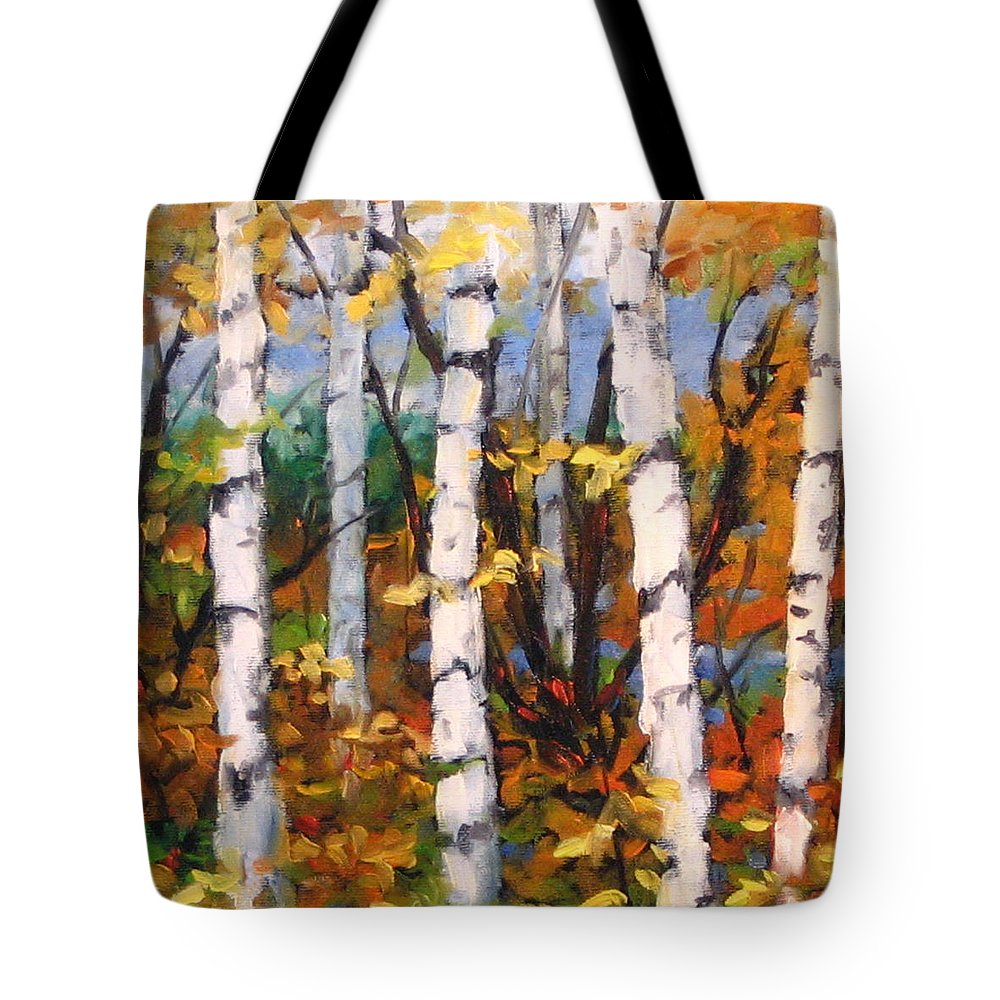 Art Tote Bag featuring the painting Birches 03 by Richard T Pranke