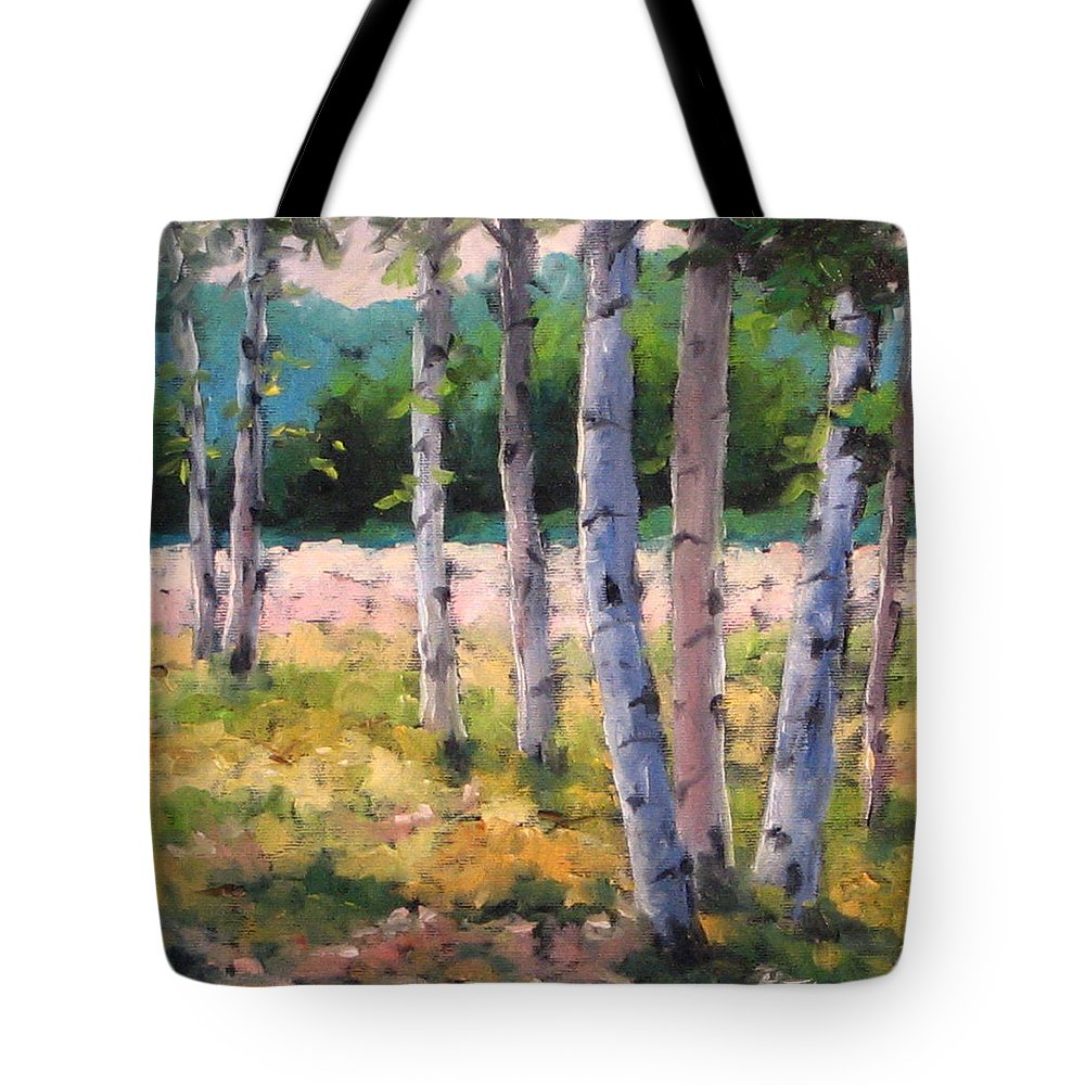 Art Tote Bag featuring the painting Birches 04 by Richard T Pranke