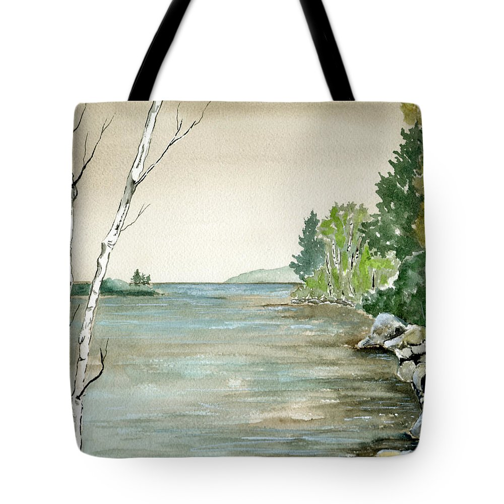 Landscape Watercolor Birches Trees Lake Pond Water Sky Rocks Tote Bag featuring the painting Birches By The Lake by Brenda Owen
