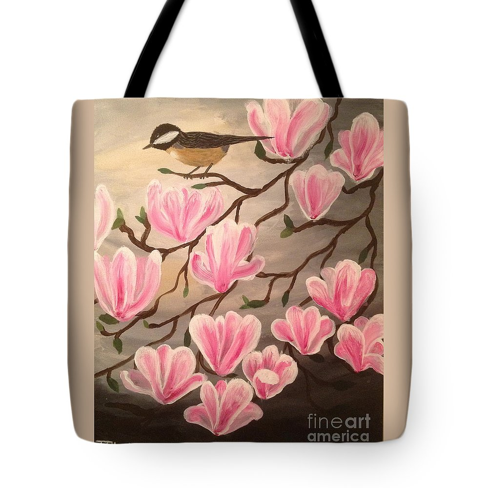 Bird Tote Bag featuring the painting Bird And Flowers by Tim Blankenship
