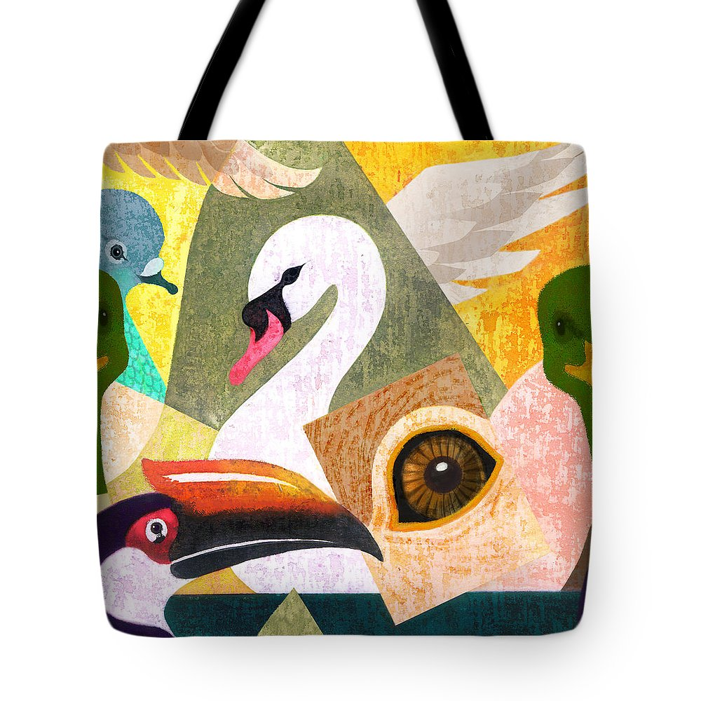 Nature Tote Bag featuring the painting Bird Composition by Renu K