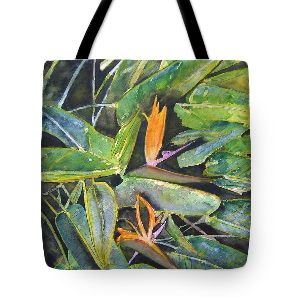 Flower Tote Bag featuring the painting Bird Of Paradise 2 by Derek Mccrea