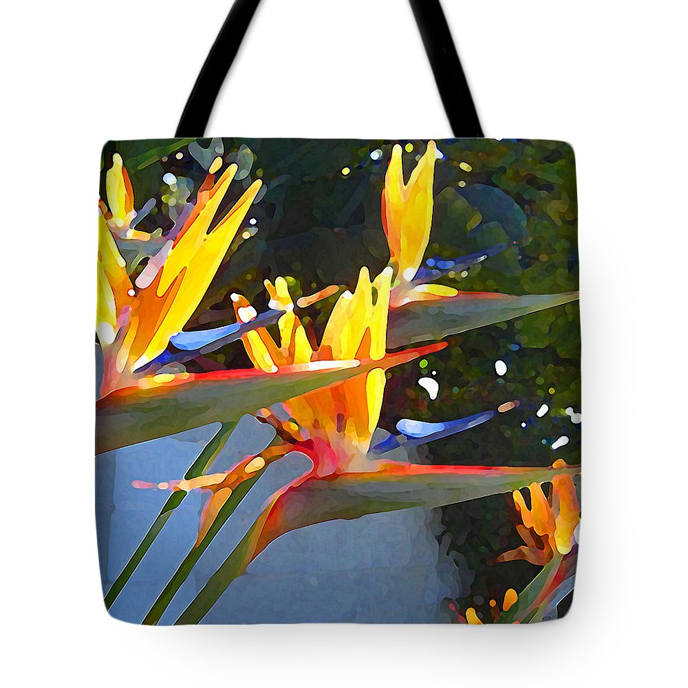 Abstract Tote Bag featuring the painting Bird Of Paradise Backlit By Sun by Amy Vangsgard
