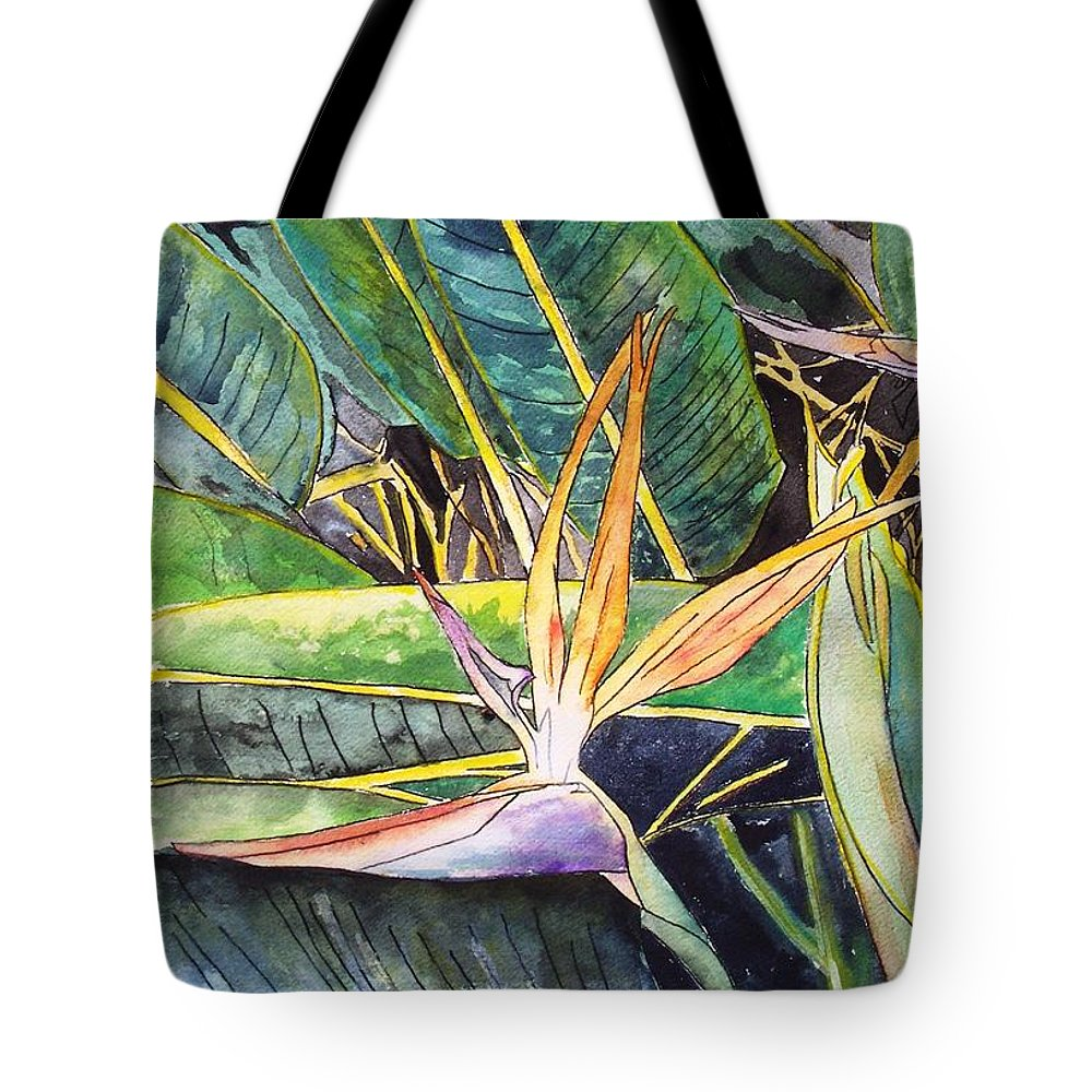 Watercolor Tote Bag featuring the painting Bird Of Paradise by Derek Mccrea