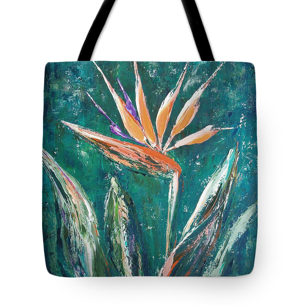 Bird Of Paradise Tote Bag featuring the painting Bird Of Paradise by Gina De Gorna