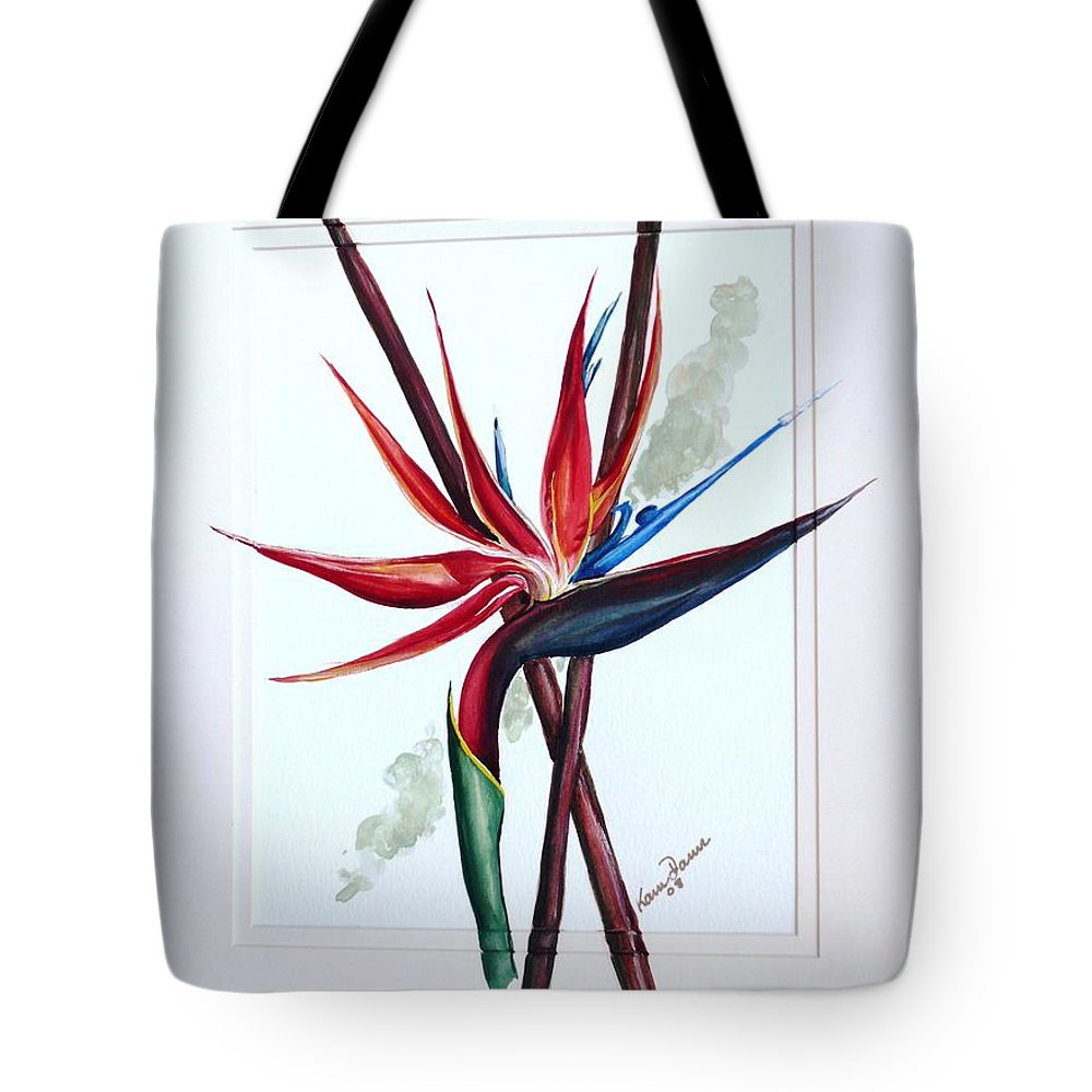 Floral Tropical Caribbean Flower Tote Bag featuring the painting Bird Of Paradise Lily by Karin Dawn Kelshall- Best