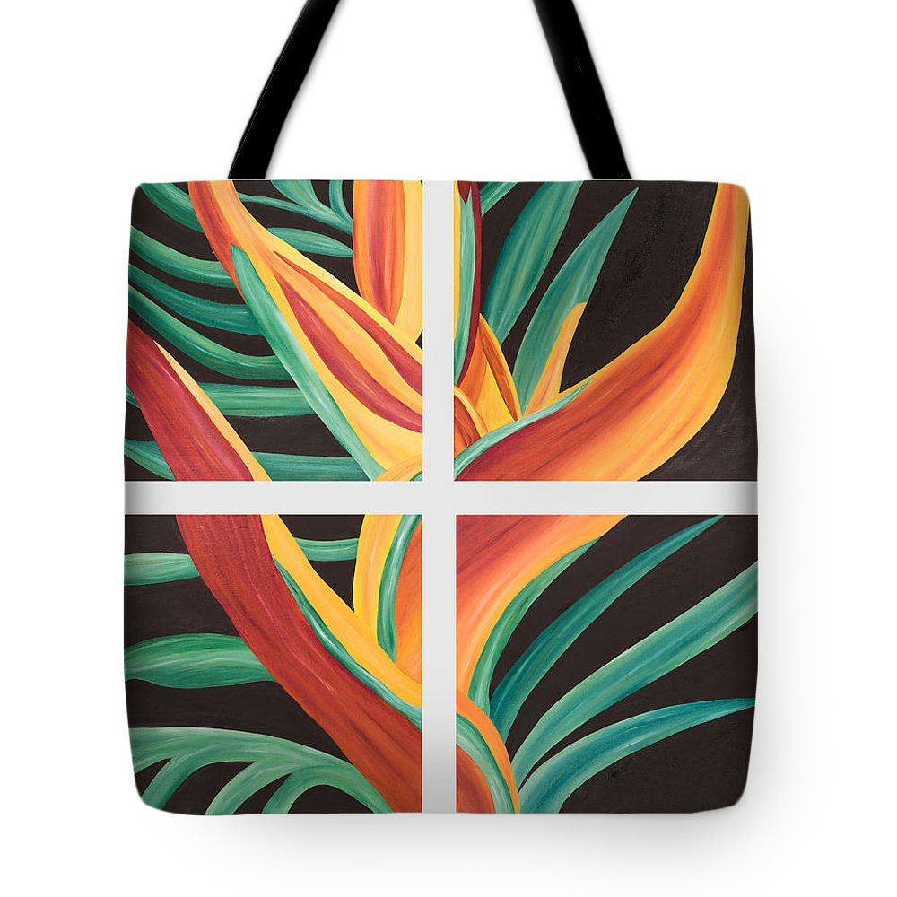 Bird Paradise Tote Bag featuring the painting Bird Of Paradise by Sandra Lorant