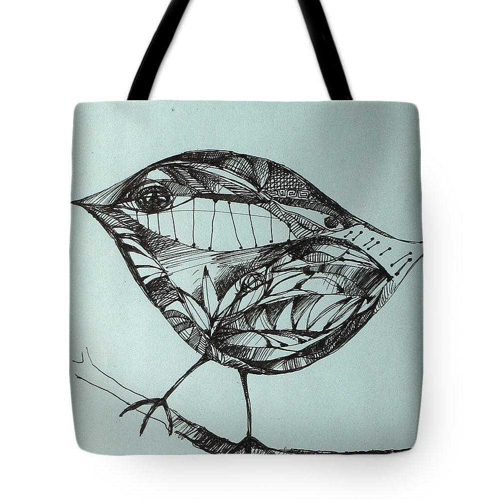 Artwork Tote Bag featuring the drawing Bird On A Brench by Cristina Rettegi
