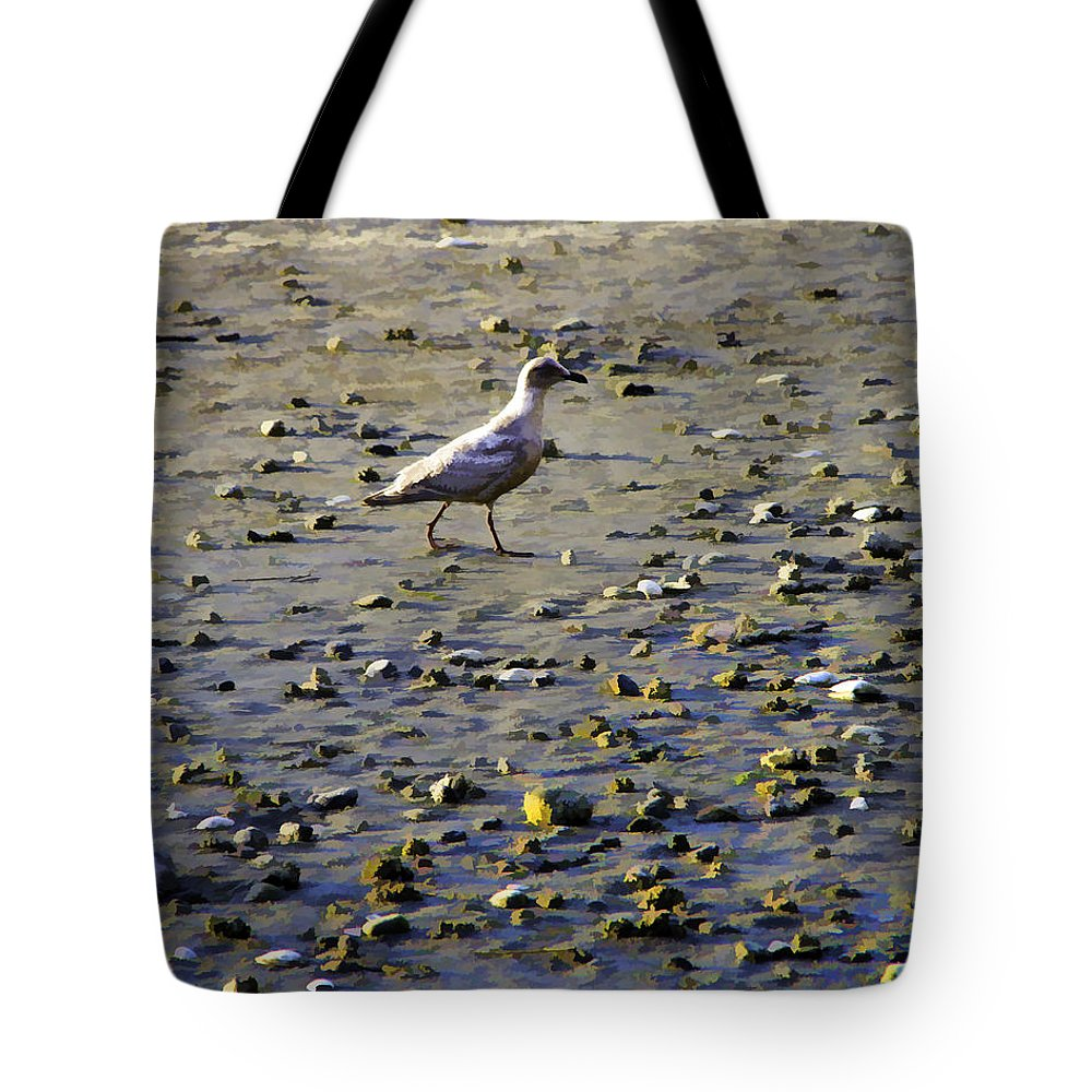 Shoreline Tote Bag featuring the photograph Bird On Beach by Josh Manwaring