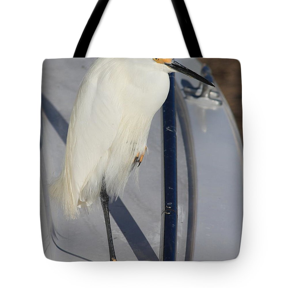 Tote Bag featuring the greeting card Bird On Boat by Carol Groenen