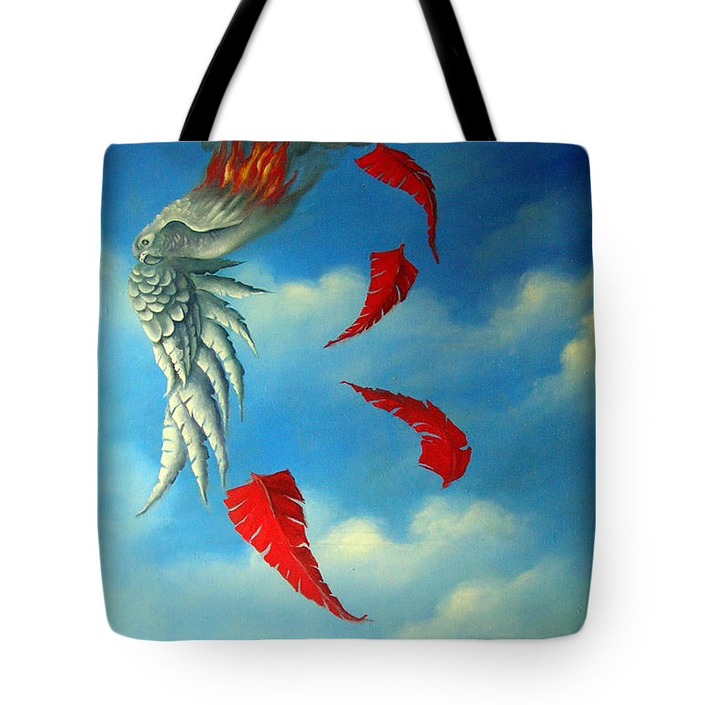 Surreal Tote Bag featuring the painting Bird On Fire by Valerie Vescovi