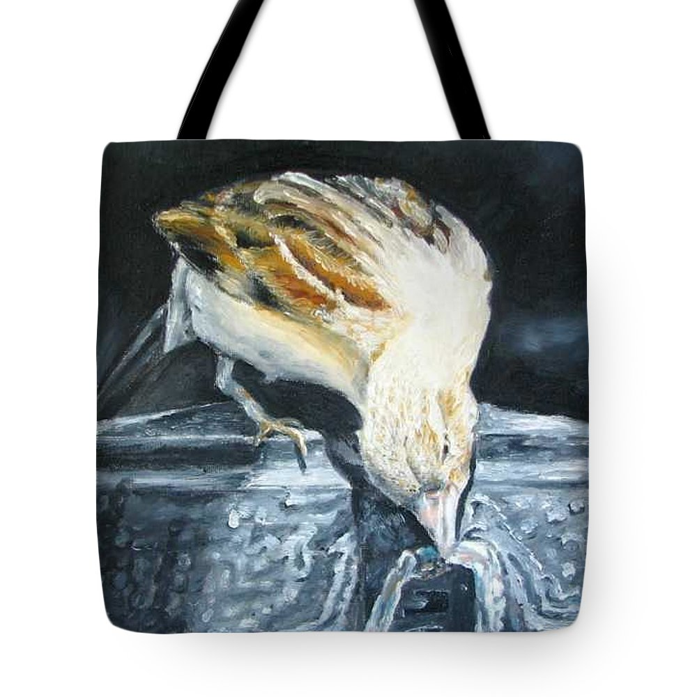 Oil Painting On Canvas Tote Bag featuring the painting Bird Original Oil Painting by Natalja Picugina