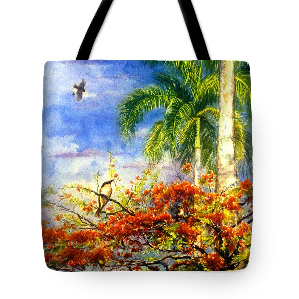 Watercolor Paintings Tote Bag featuring the painting Bird Protected By Her Mother by Estela Robles