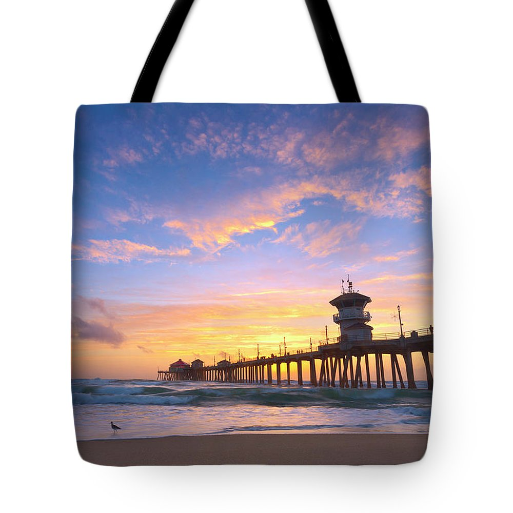 Shorebird Tote Bag featuring the photograph Bird Watching Sunset by Brian Knott Photography