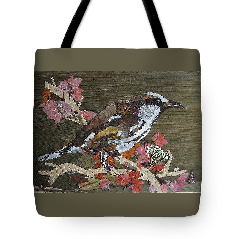 Bird Tote Bag featuring the mixed media Bird White Eye by Basant Soni