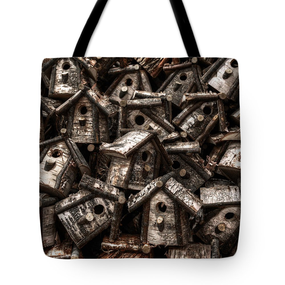 Birdhouse Tote Bag featuring the photograph Birdhouses by Geoffrey Coelho