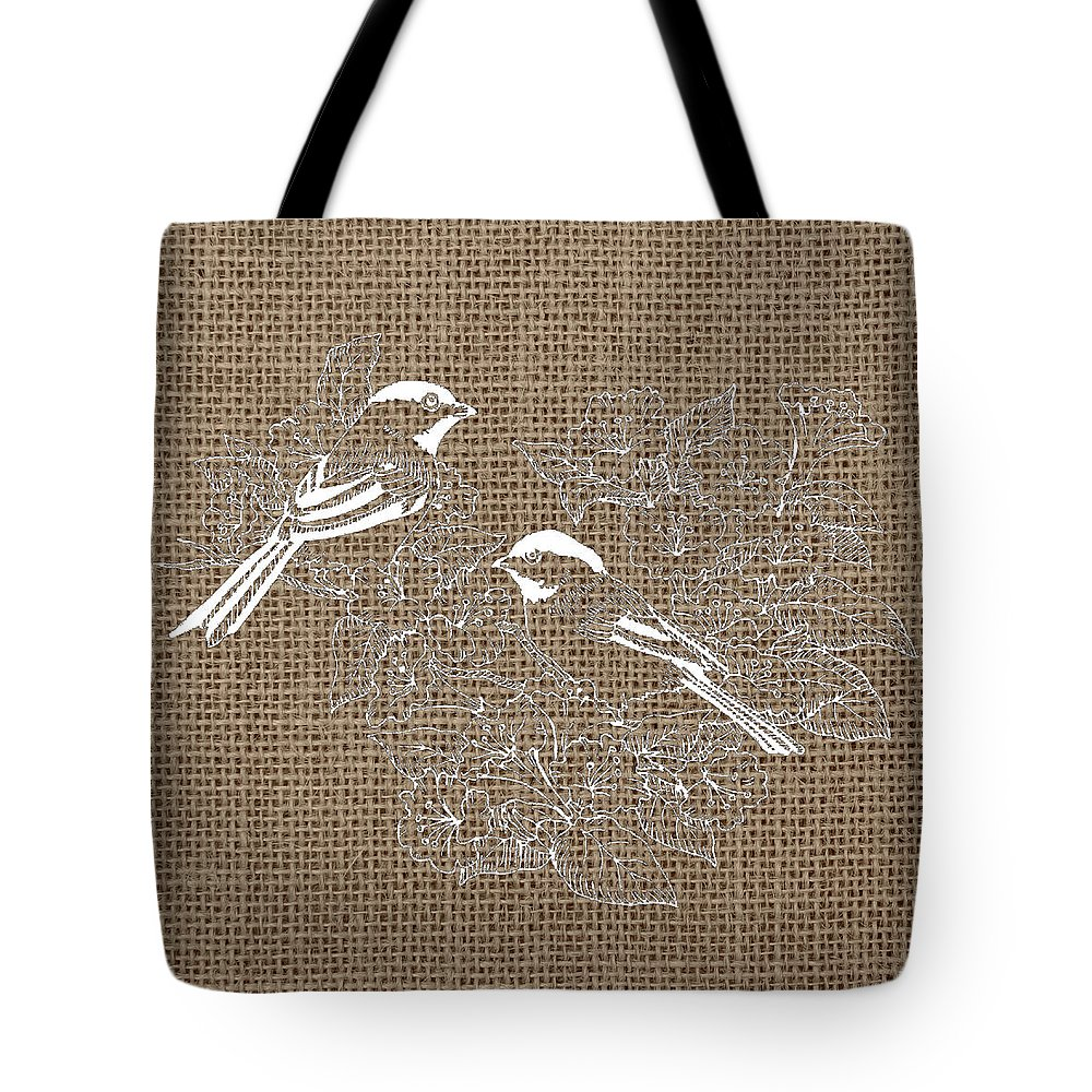 Brandi Fitzgerald Tote Bag featuring the digital art Birds And Burlap 2 by Brandi Fitzgerald