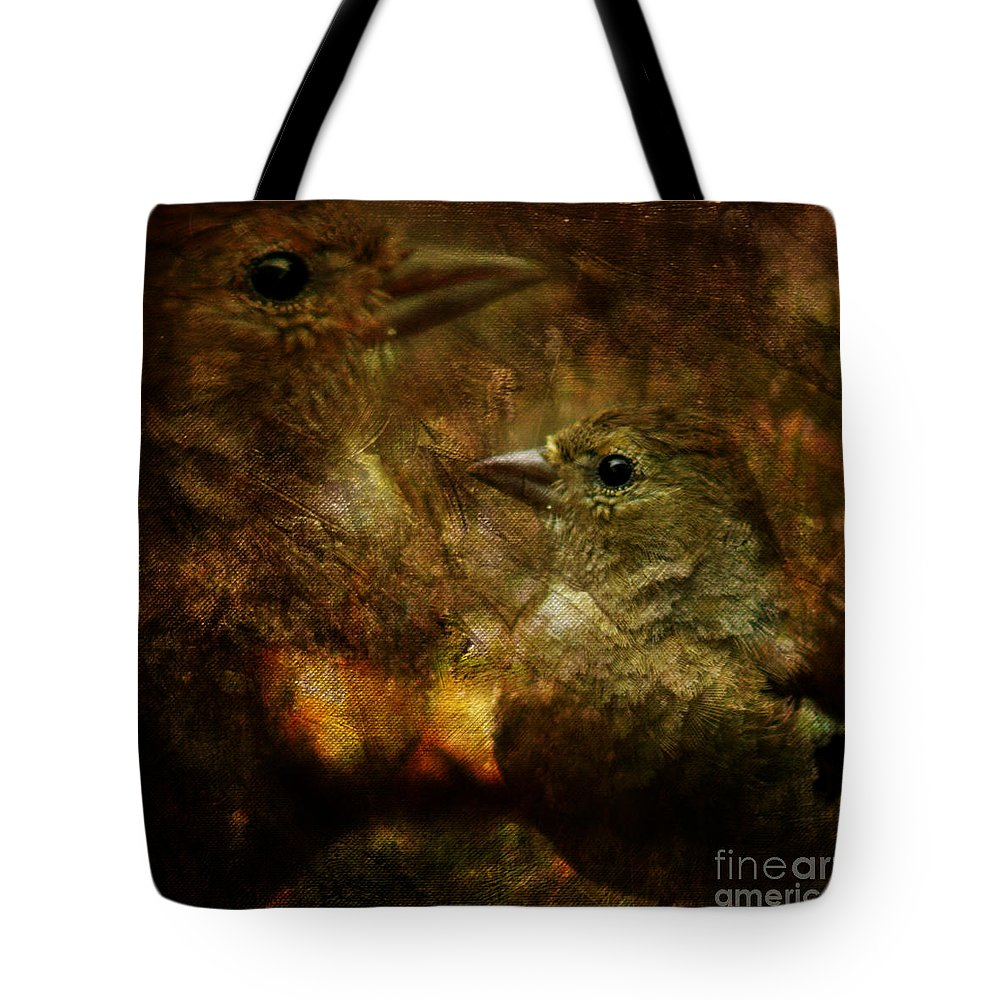 Sparrow Tote Bag featuring the photograph Birds by Angel Ciesniarska
