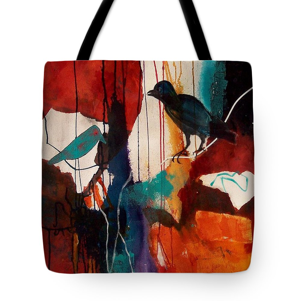 Abstract Expressionism Tote Bag featuring the painting Bird's Eye View by Donna Frost