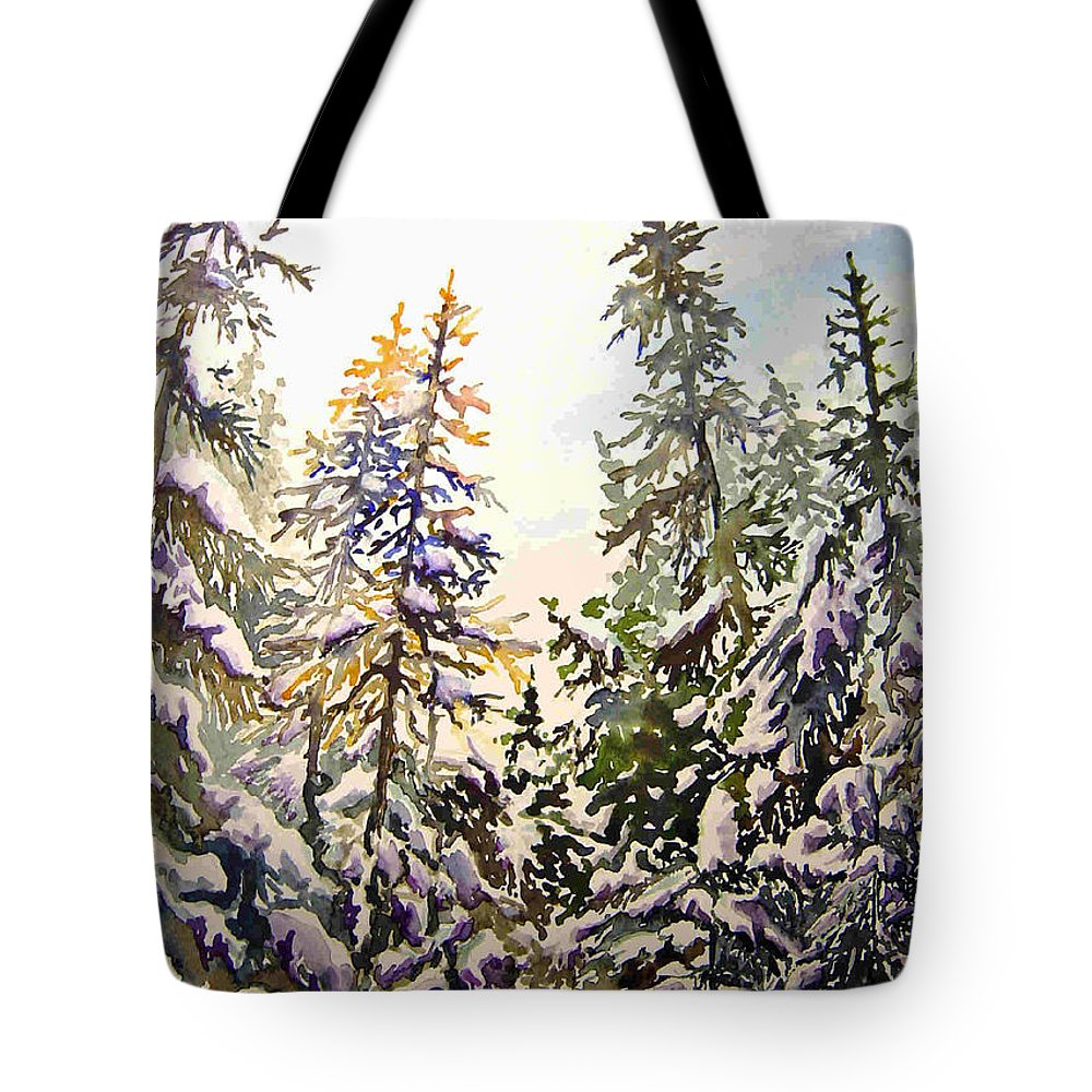 Birds Hill Provincial Park Manitoba Evergreens In Winter Tote Bag featuring the painting Birds Hill Park One Late Afternoon In January by Joanne Smoley