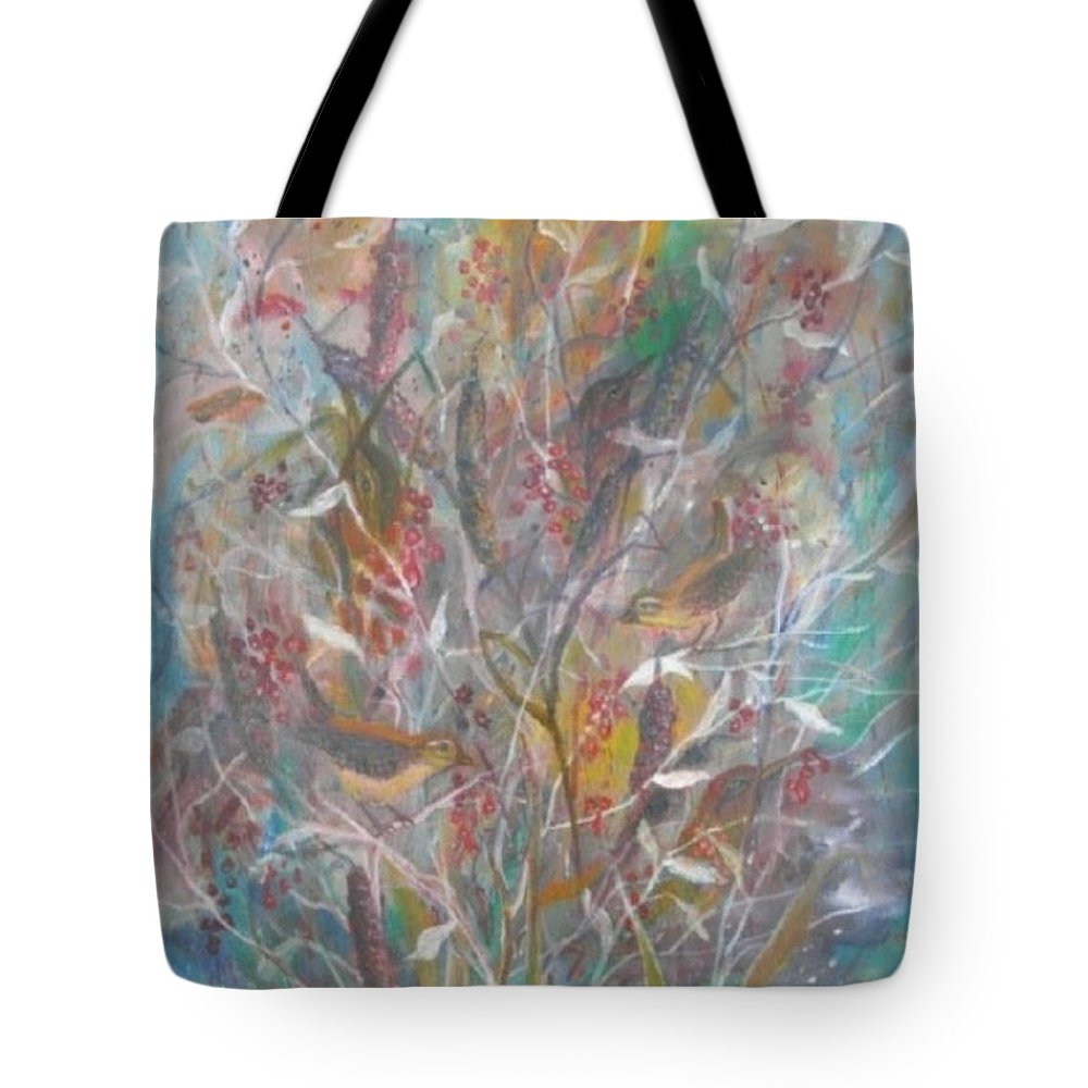 Birds Tote Bag featuring the painting Birds In A Bush by Ben Kiger